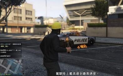 V novej aktualizácii GTA V môžu hráči zažiť protesty v Hongkongu. Demonštranti majú plynové masky a molotov kokteil