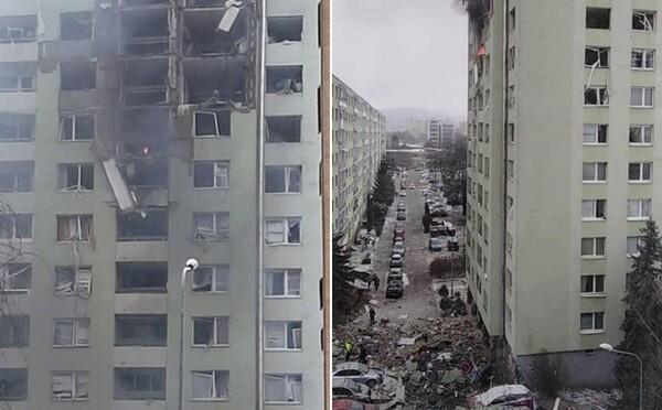 V paneláku na Slovensku vybuchl plyn, mohutná exploze vybila všechna okna a zničila několik pater (Aktualizováno)