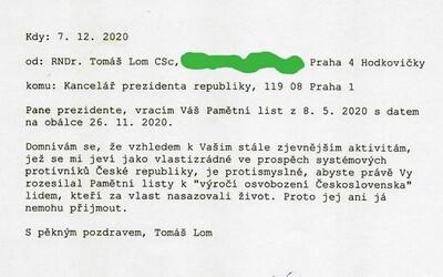 Válečný veterán vrátil Zemanovi pamětní list. Označil ho za vlastizrádce
