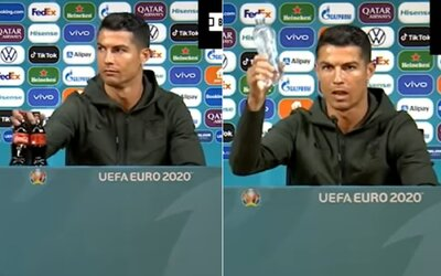 VIDEO: Cristiano Ronaldo zrejme nenávidí Coca-Colu. Sladený nápoj odložil preč a vyzdvihol čistú vodu