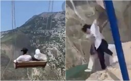 VIDEO: Dievčatá sa hojdali nad najhlbšou priepasťou v Európe, v dvojkilometrovej výške sa nad nimi roztrhli reťaze