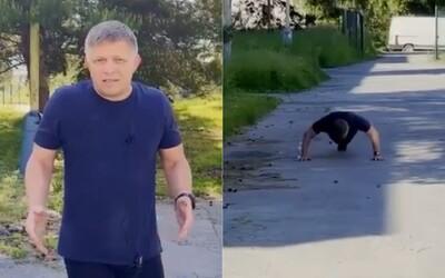 VIDEO: Fico robí kliky na ceste v Prešove. Zadychčaný ďakuje za petičné hárky