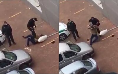 VIDEO: Slovenský policista brutálně zbil mladíka na zemi. Uštědřil mu rány pěstí, kopance a postavil se mu na břicho