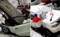 VIDEO: Tento muž zázračne utiekol pred smrťou. Obrej betónovej platni, ktorá mu zletela na auto, sa vyhol len o chlp