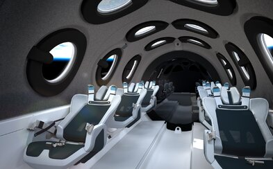 Virgin Galactic odhalila interiér svého vesmírného autobusu. Brzy odveze první vesmírné turisty