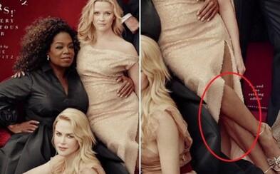 Vo svetoznámom časopise sa ocitla photoshopová katastrofa. Reese Witherspoon sediaca na Oprah skončila s tromi nohami