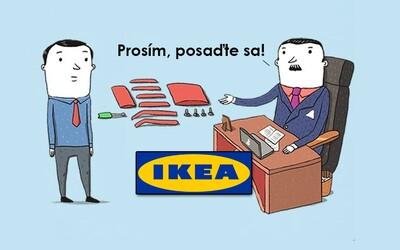 Vtipné ilustrace si utahují z toho, jak probíhají pohovory ve známých firmách. U společnosti IKEA si musíš židli poskládat sám