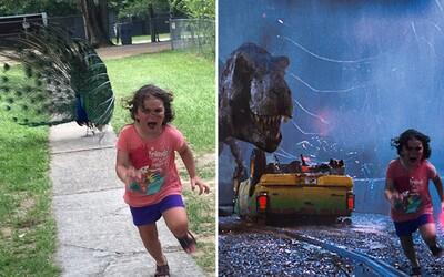 Vystrašené děvčátko utíkající před pávem spustilo na internetu lavinu smíchu. Návštěva kontaktní zoo neskončila ideálně