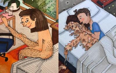 Vztah není jen o roztomilých situacích. I ty, o kterých se raději nemluví, mají své kouzlo, což dokazují trefné ilustrace