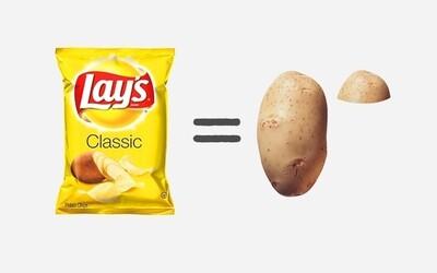 Z čoho sa skladajú produkty, ktoré si bežne kupujeme? Na čipsy sa používa len zopár zemiakov