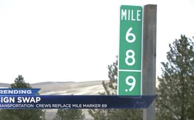 Z diaľnice ľudia neustále kradli značku 69, tak na nej museli prepísať číslo na 68,9