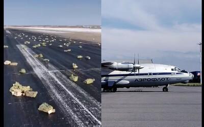 Z ruského letadla na dráze vypadlo zlato za 370 milionů dolarů. Tři tuny cihliček se povalovaly po zemi kvůli poškozené klice