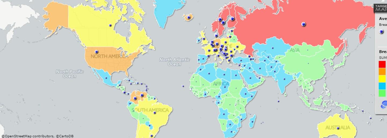 Za najväčšími prsiami treba ísť do Ruska a najmenšími zase do Číny. Mapa priemernej veľkosti pŕs odhalila množstvo zaujímavých informácií