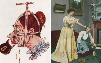 Zabudnuté propagandistické pohľadnice bojujúce proti právam žien. Muži sa ich dominancie obávali