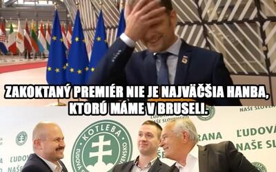 Zakoktaný Matovič je menšia hanba v Bruseli, ako Kotlebovci. Toto sú najlepšie memečká o premiérovej angličtine v živom vysielaní