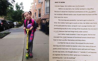 Žiačka dostala poriadne sexistickú domácu úlohu. Jej matka preto cvičenie dôrazne upravila, aby škole vysvetlila, ako to v dnešnej dobe chodí