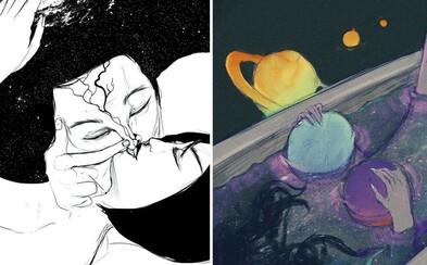 Zmyselné ilustrácie zobrazujú emócie, ktoré sa slovami veľmi vyjadriť nedajú. Zaoberajú sa láskou aj sociálnymi problémami
