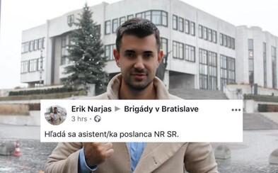 Zvolený kandidát OĽaNO hľadá asistenta a právneho asistenta do Národnej rady v skupine pre brigádnikov