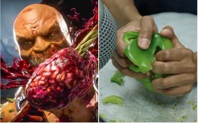 Zvuky brutálních útoků z Mortal Kombat vznikají mačkáním zeleniny nebo louskáním ořechů