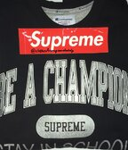 Supreme x Champion Stay in School Crewneck |    Black