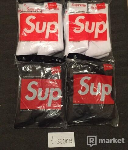 Supreme hanes socks, černé i bílé
