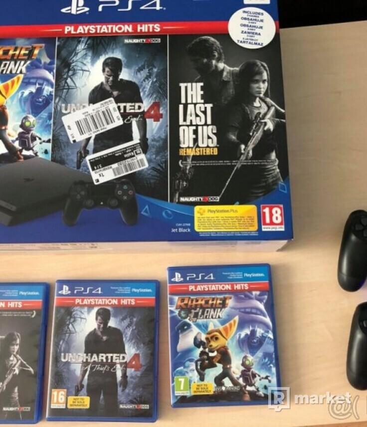PS4 slim 1TB, 3 hry, 2 ovladače - NOVÉ