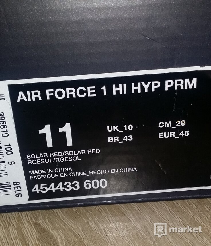 Nike air force 1 hi hyp prm, vel.11 (45)