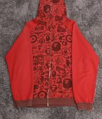 Bape All Over Logo Zip Hoodie Red
