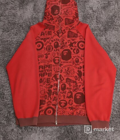 Bape All Over Logo Zip Hoodie Red