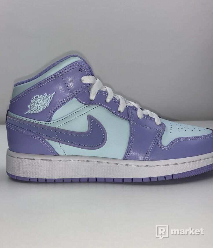 Jordan 1 Mid Purple aqua GS