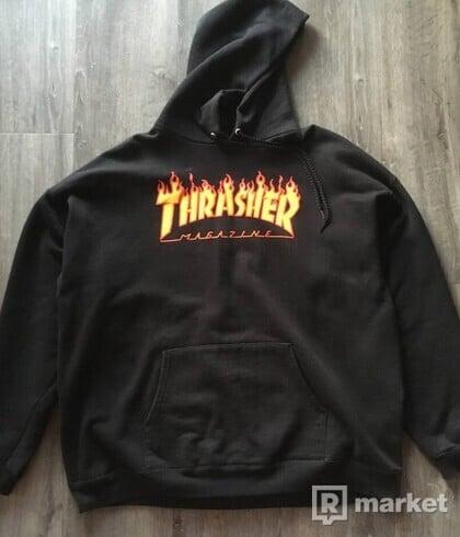 THRASHER FLAME HOODIE-BLACK