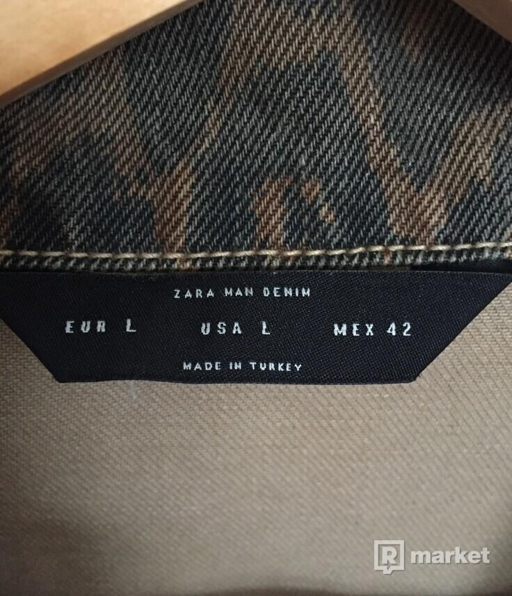 Zara roztrhaná leopardia rifľová bunda