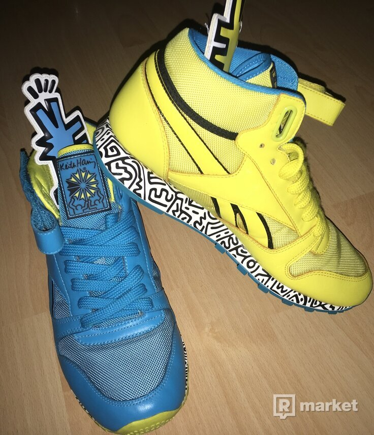 The Reebok x Keith Haring Classic Leather Mid Strap Lux Sneaker in Far Out Blue & Boldly Yellow