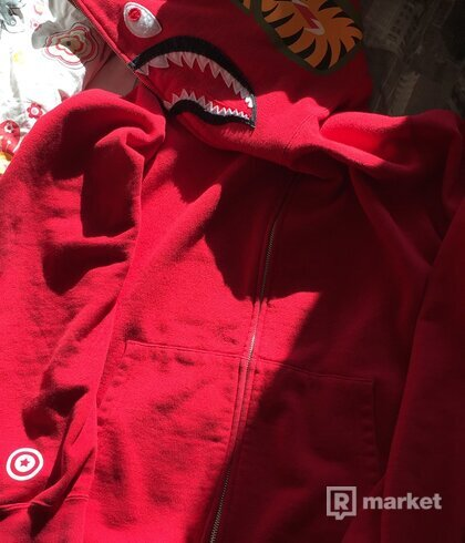 bape shark zip hoodie