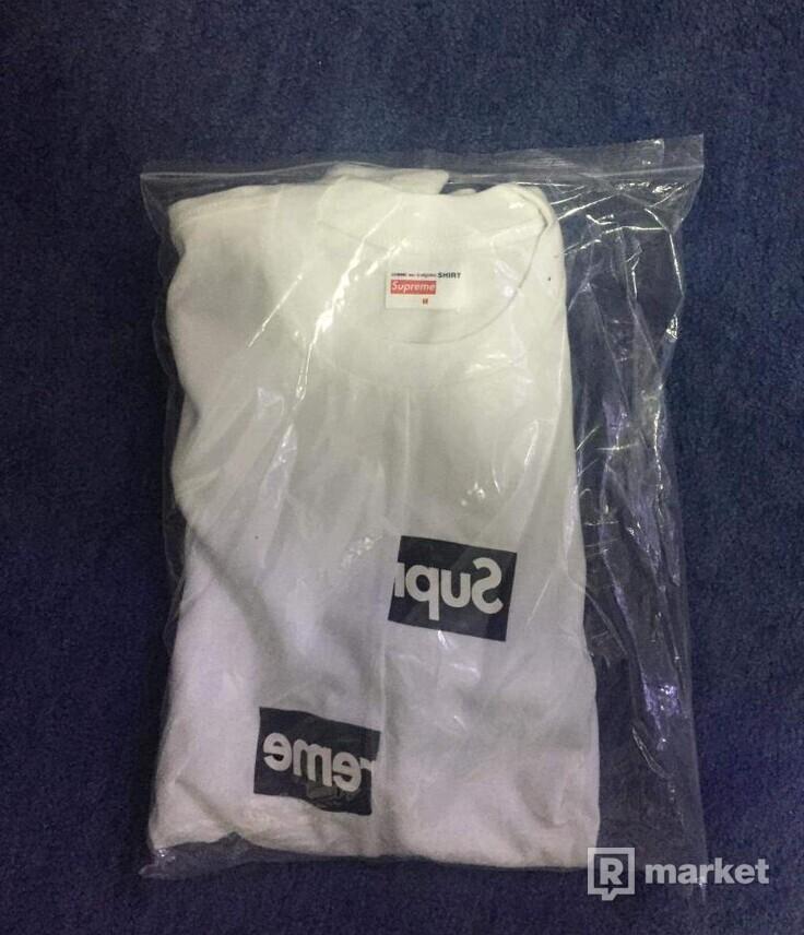 Supreme x cdg split box logo tee white