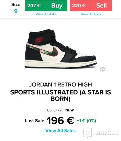Air jordan 1 retro high og black/varsity red
