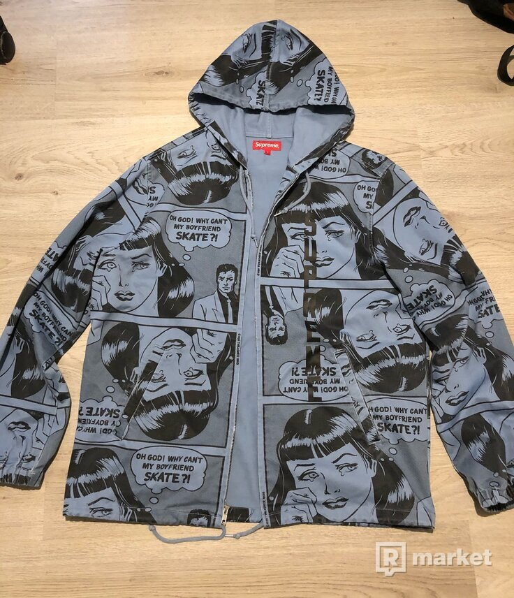 Supreme X Thrasher - Boyfriend Hooded Zip Up Jacket Dusty Blue Large