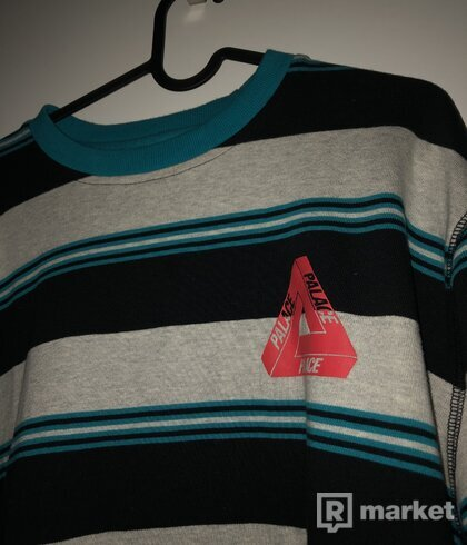 RIBBED FOR PLEASURE CREW MARL / TEAL / BLACK (Palace)