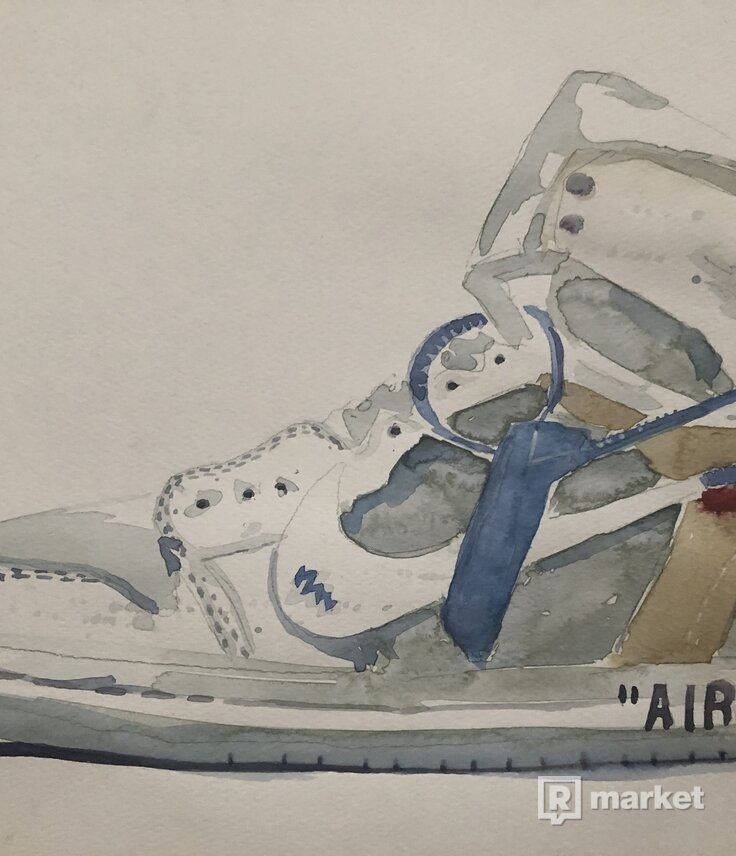Nike Off White Air Jordan watercolor painting