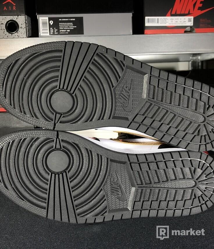 "Air Jordan Retro 1 Mid Patent ""Black Gold"""