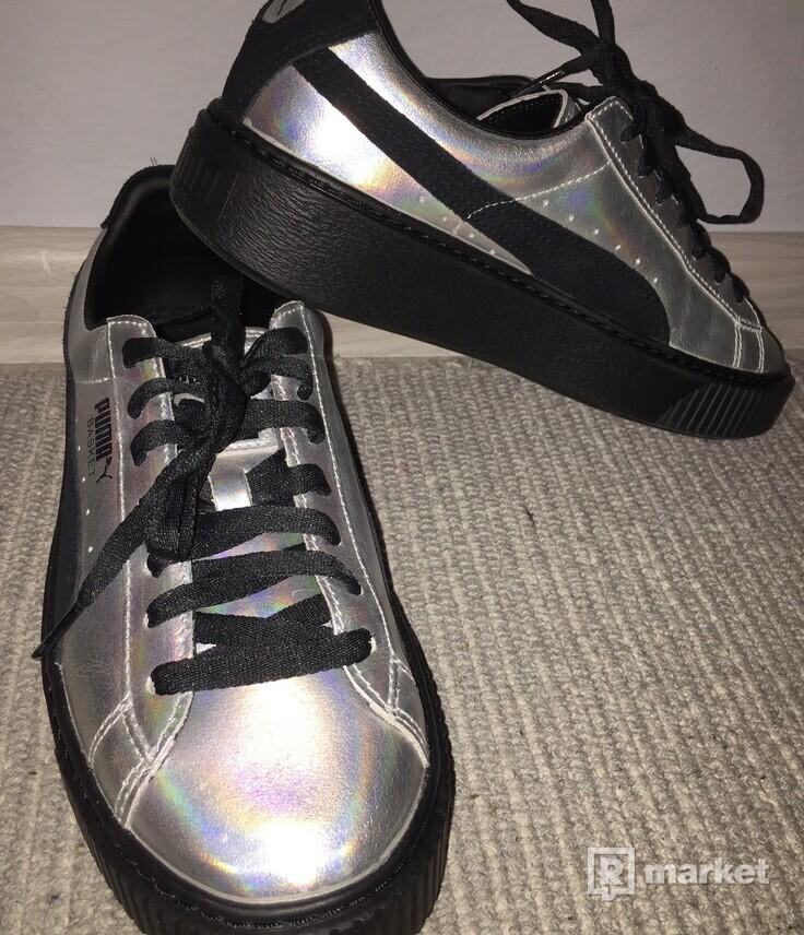 Puma Basket Platform Metallic Silver