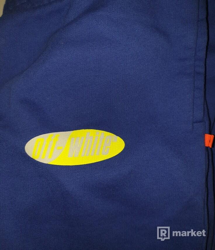 Off-White logo print cotton sweat pants - Blue