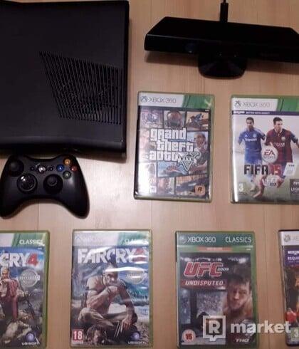 Xbox 360 S 4GB + Kinect + 6 Hier