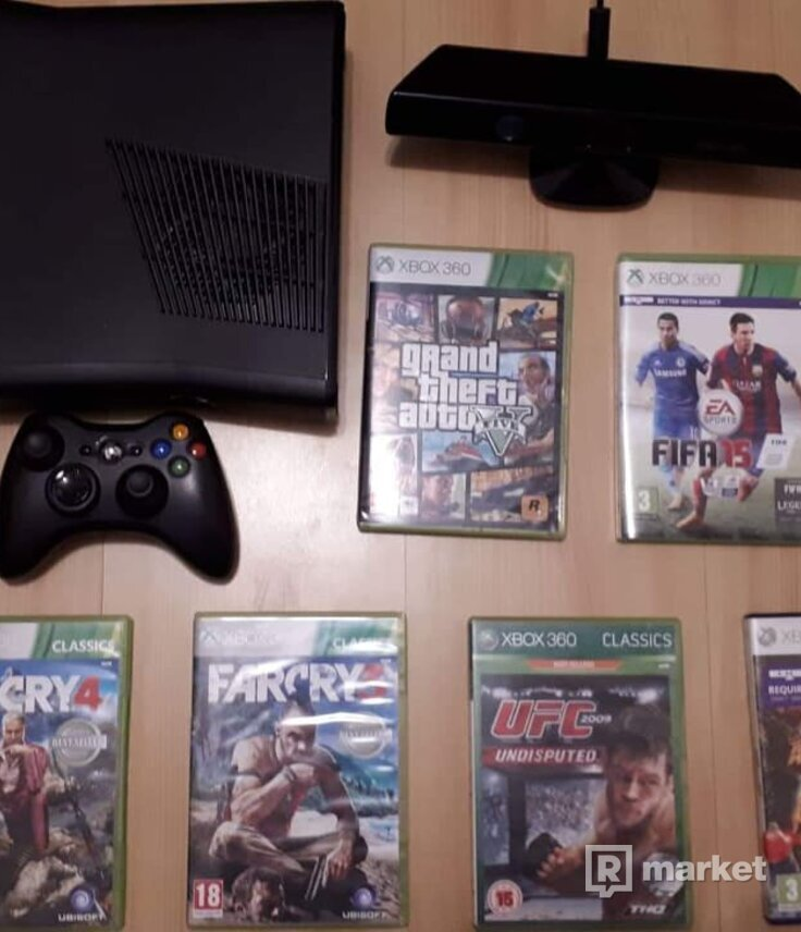 Xbox 360 S 4GB + Kinect + 6 Hier