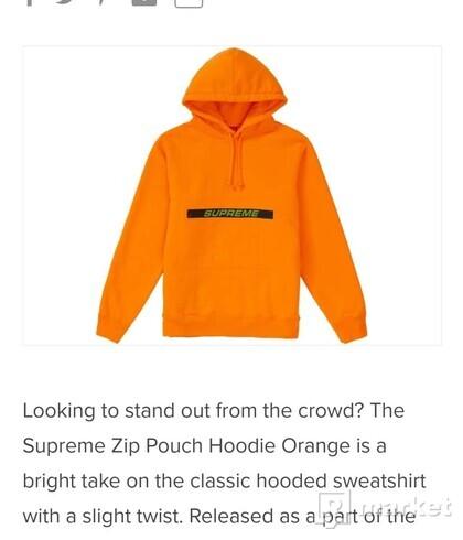 Supreme zip pouch hoodie orange