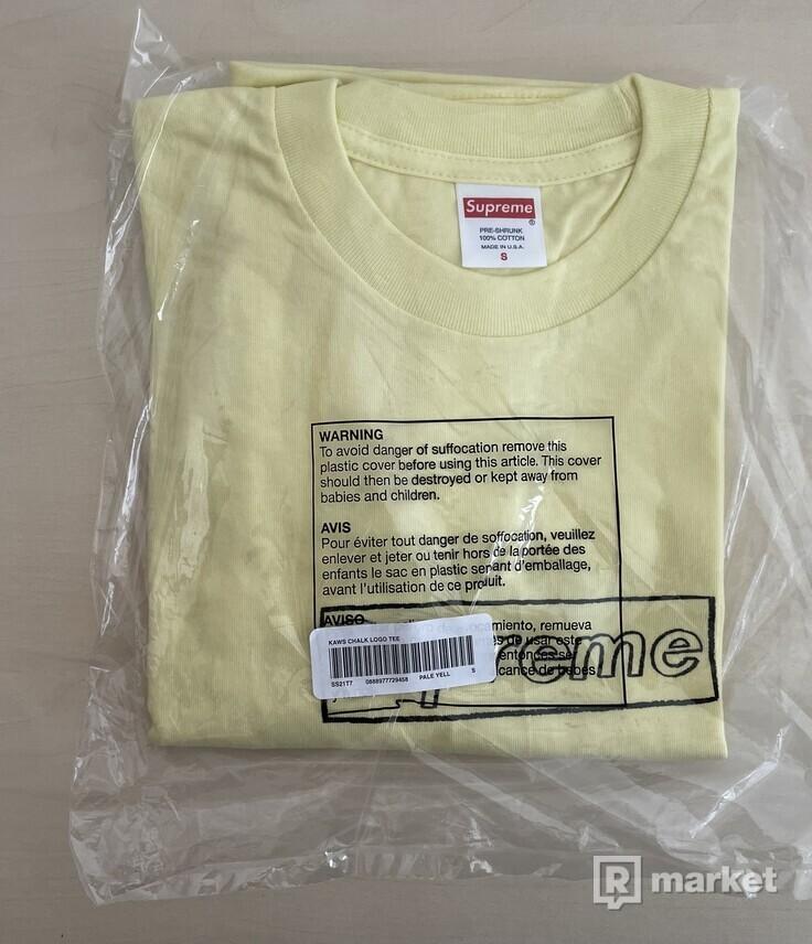 Supreme KAWS Chalk Logo Tee Pale Yellow - S, M
