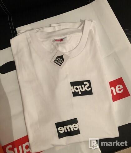 Supreme x cdg shirt split box logo white