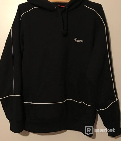 Supreme Piping Hooded Sweatshirt Black SS18 (size M)
