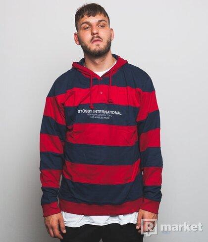 Mikina Stussy Hooded Stripe Rugby (red)