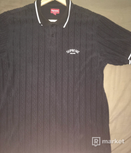 SUPREME CABLE KNIT TERRY POLO 'BLACK'